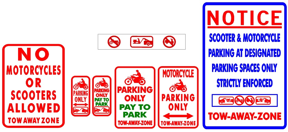 Parking signage showing where motorcycles and scooters can and cannot park in the City of Miami Beach.
