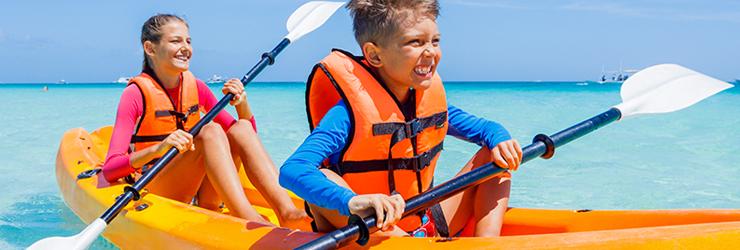 kids on kayaks
