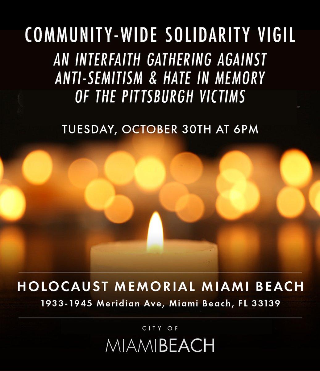 Miami Beach Solidarity Vigil to Honor Victims of the Pittsburgh Synagogue Mass Shooting