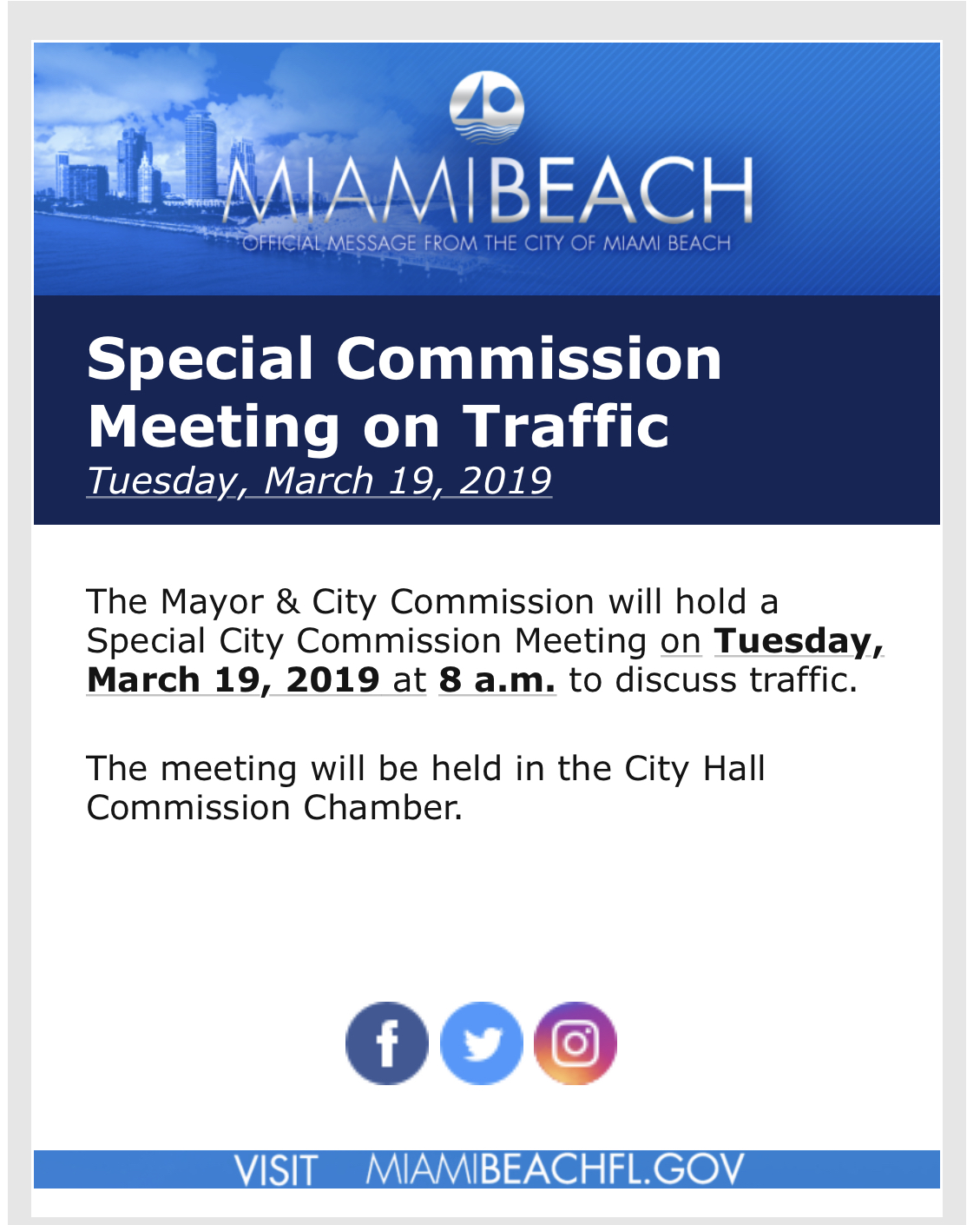 Special Commission Meeting on Traffic