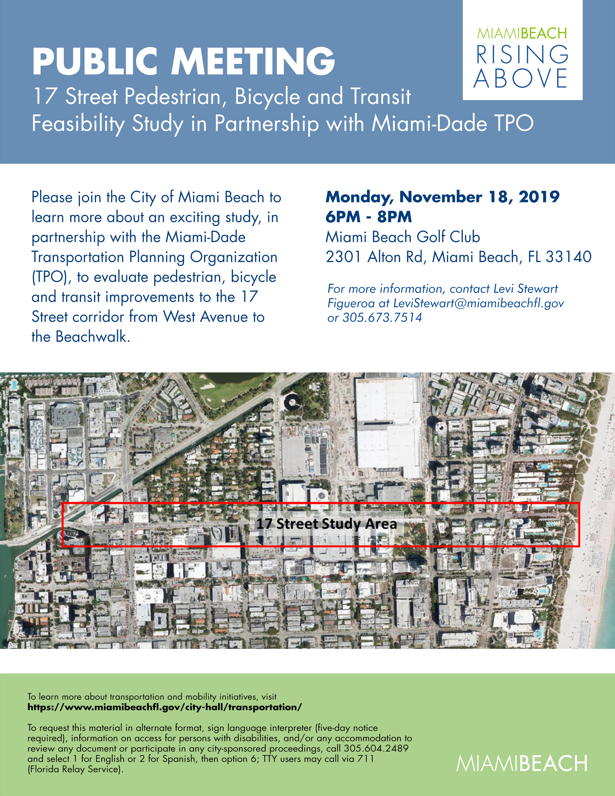 17 Street Pedestrian, Bicycle and Transit Feasibility Study in Partnership with Miami-Dade TPO