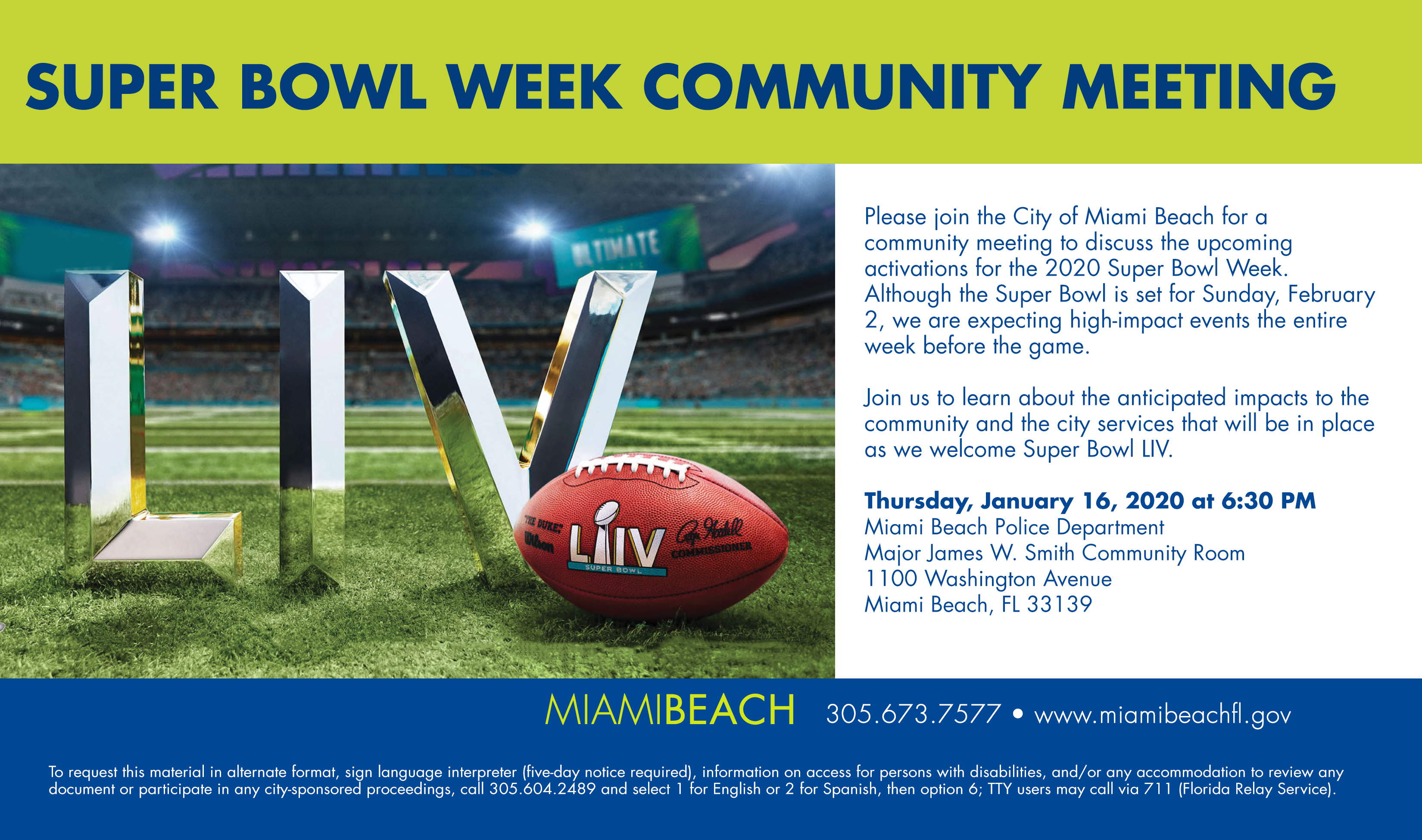 Super Bowl Week Community Meeting