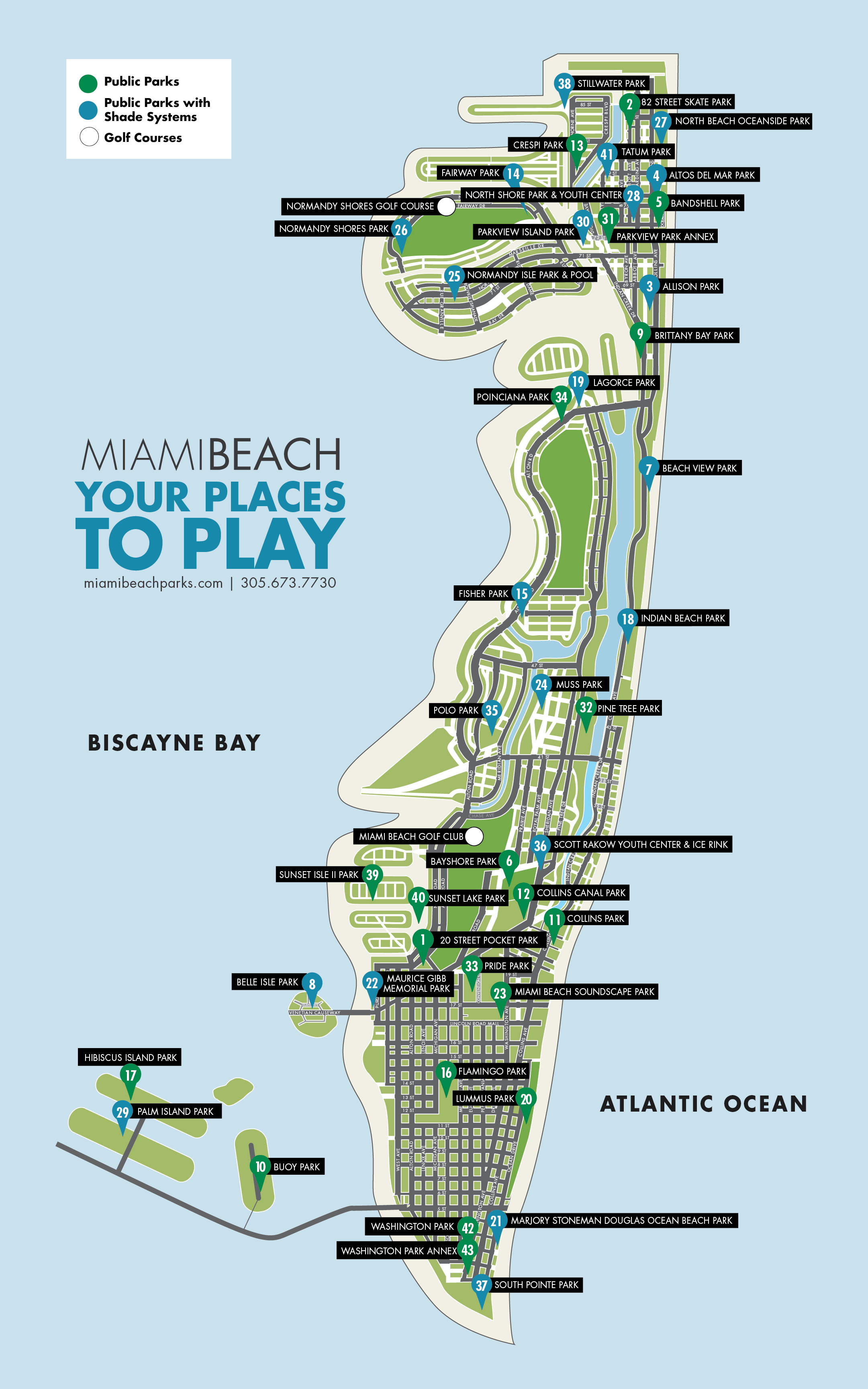 city map of parks   city of miami beach