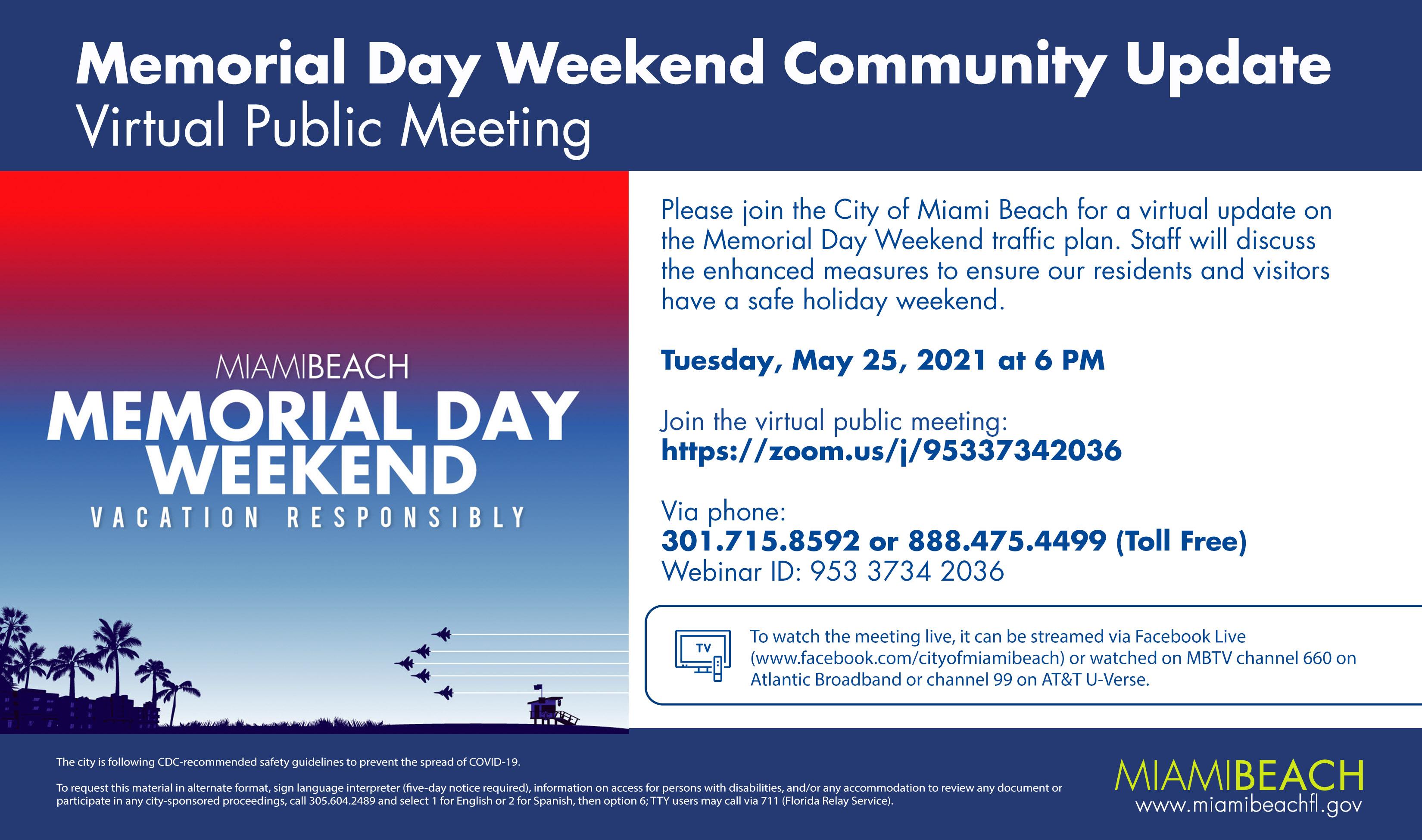 MBPD Memorial Day Weekend Community Update Virtual Public Meeting