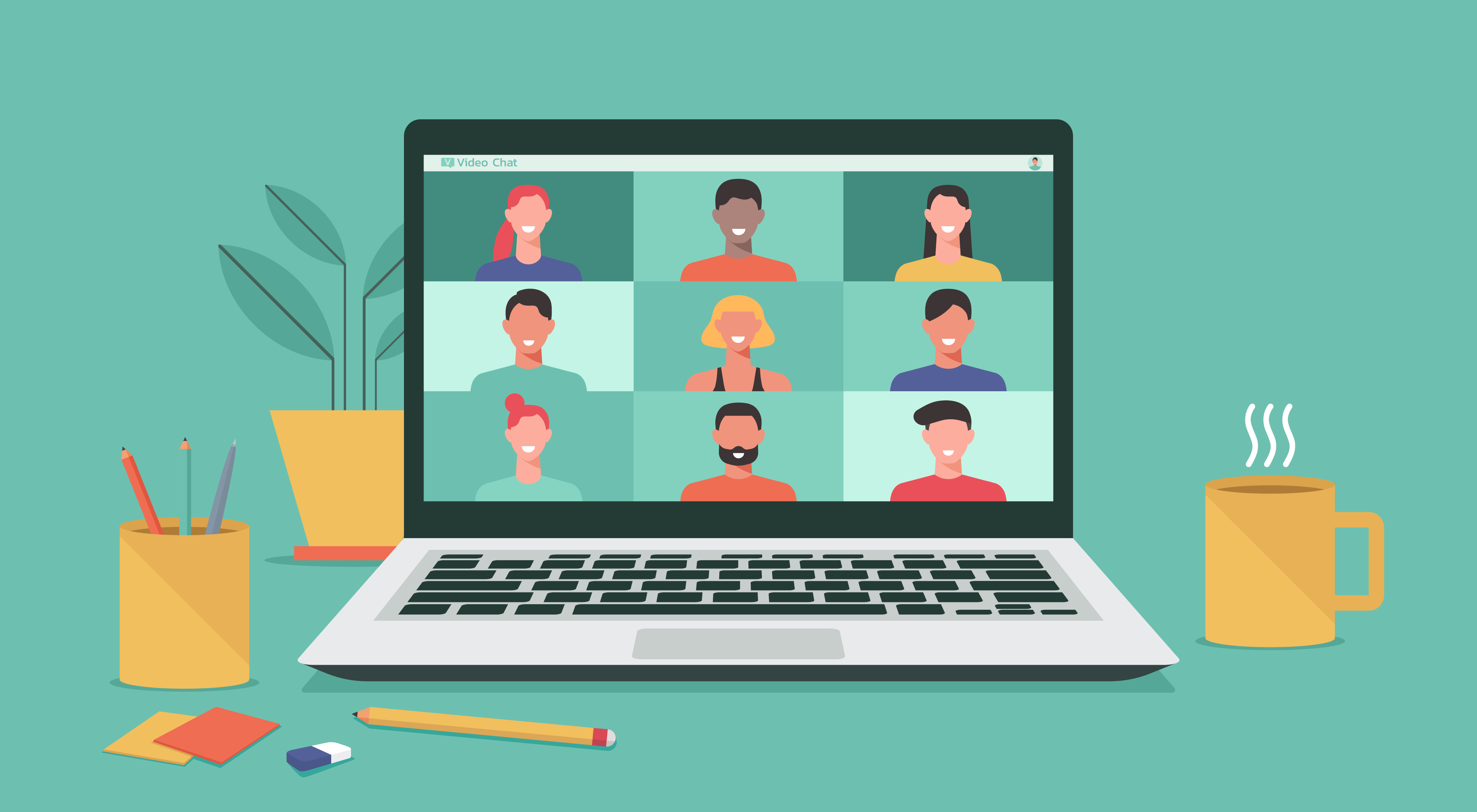 People,Connecting,Together,,Learning,Or,Meeting,Online,With,Teleconference,,Video